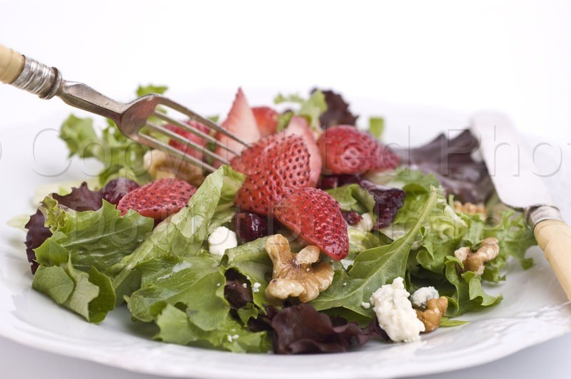Food & Drink - Tom Warner Photography salad, food, dine, dining, vegetables, fruit, strawberries, nuts, walnuts, cheese, fork, appetizer, refreshing, nutrition, healthy, health, living, knife, flatware, wood, greens, lettuce