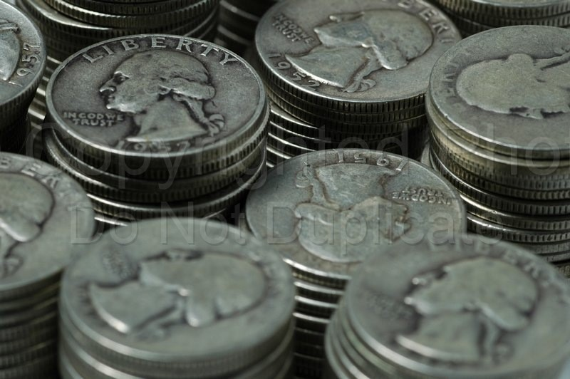 Stock Shots - Tom Warner Photography silver, quarter, coins, coinage, money, monetary, exchange,, change, finance, saving, savings, invest, worth, assets, liquid