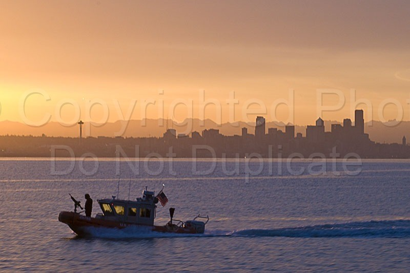Scapes - Tom Warner Photography security, homeland, water, patrol, coast guard, seattle skyline, washington, naval, ocean, travel, ferry, harbor, harbour